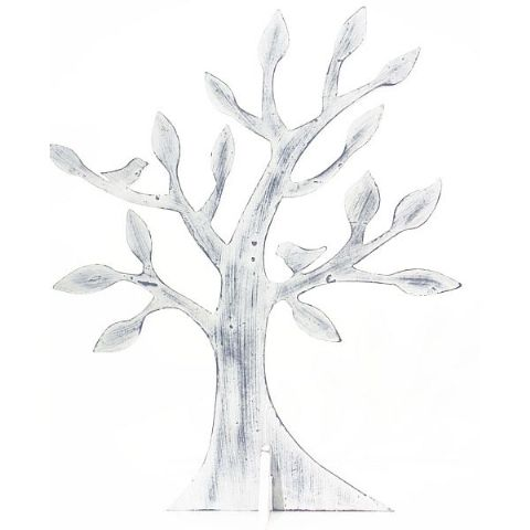 White Wooden Tree Jewellery Stand